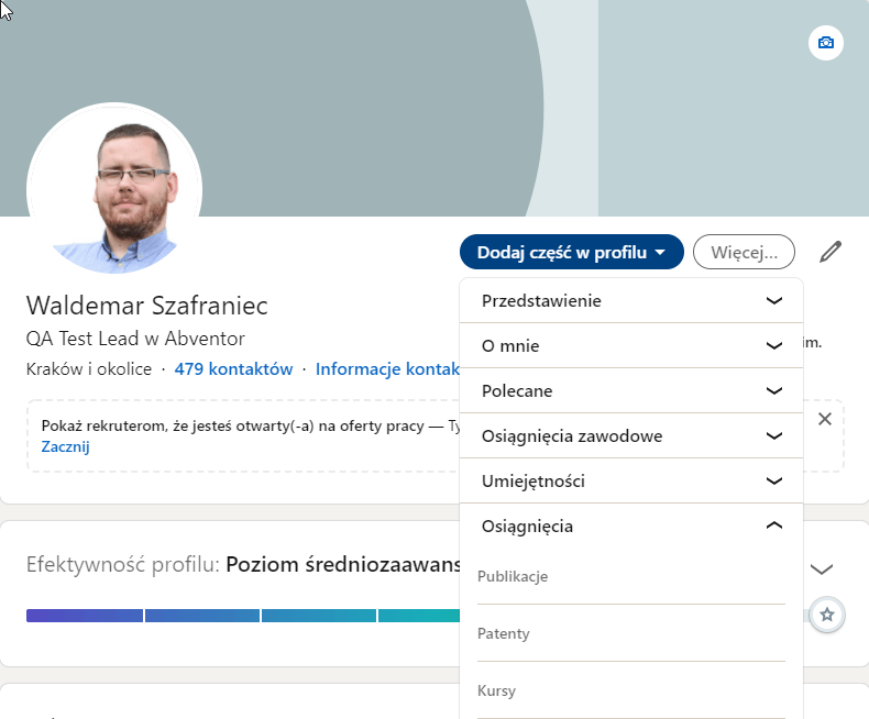 LinkedIn profil użytkownika