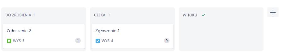Sprint tablica projektu, każda kolumna to nazwa statusu zgłoszenia
