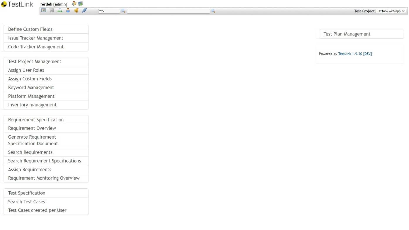 TestLink - Ekran startowy - Panel Administratora