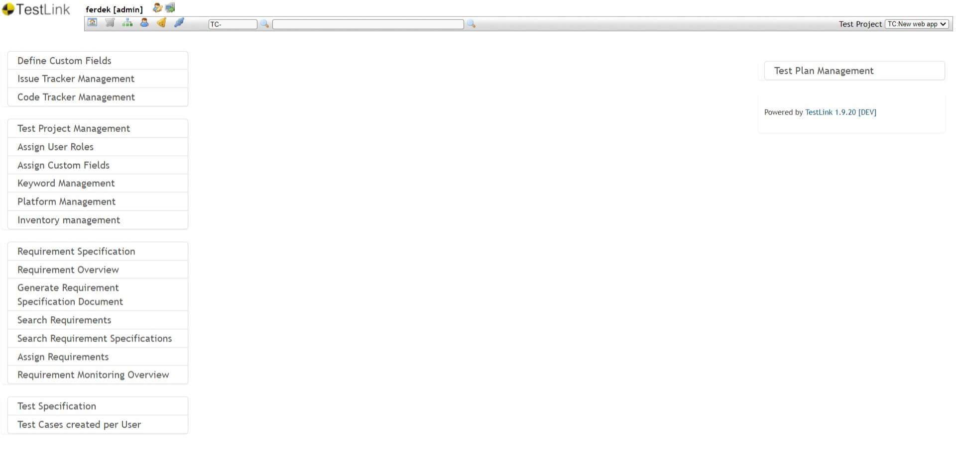 Testlink - ekran startowy - homepage