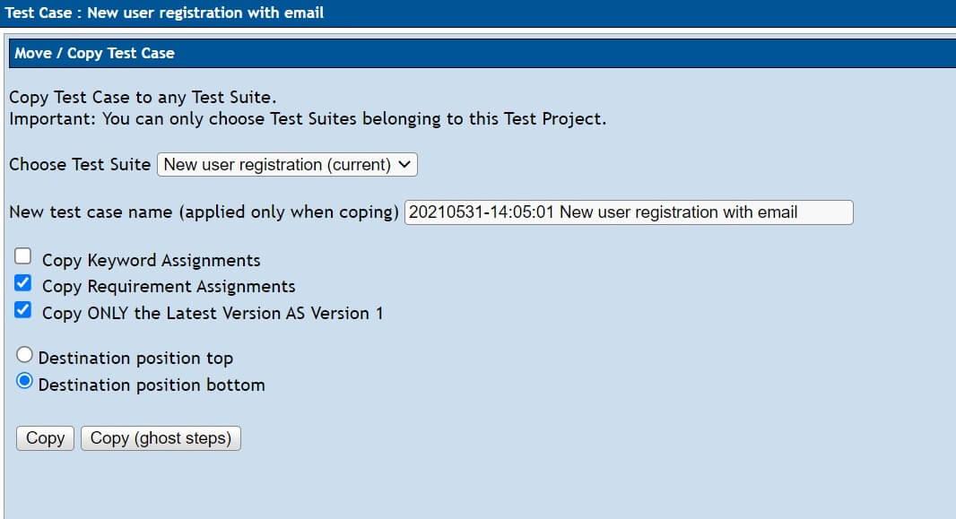 Testlink - kopiowanie przypadku testowego - opcje