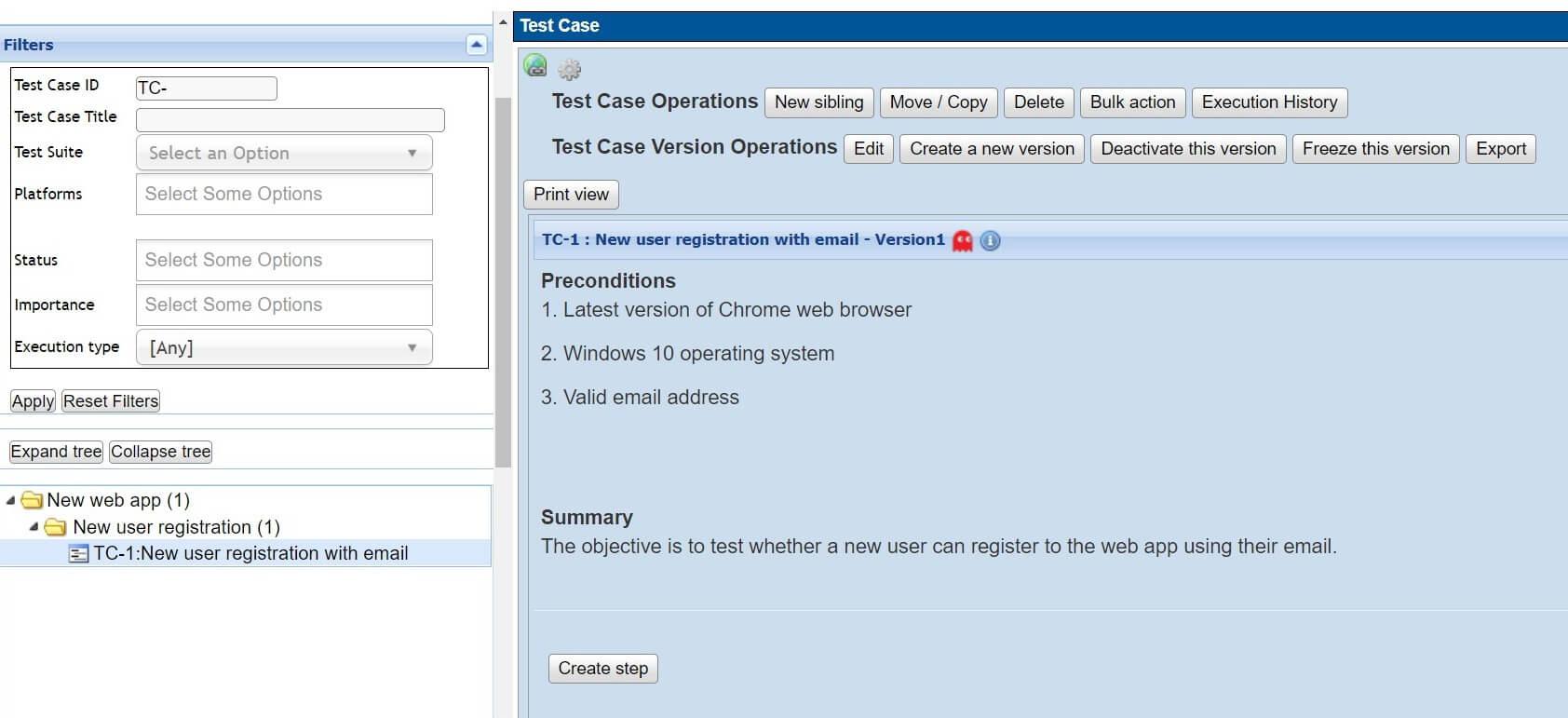 Testlink - pierwszy przypadek testowy - zapisany