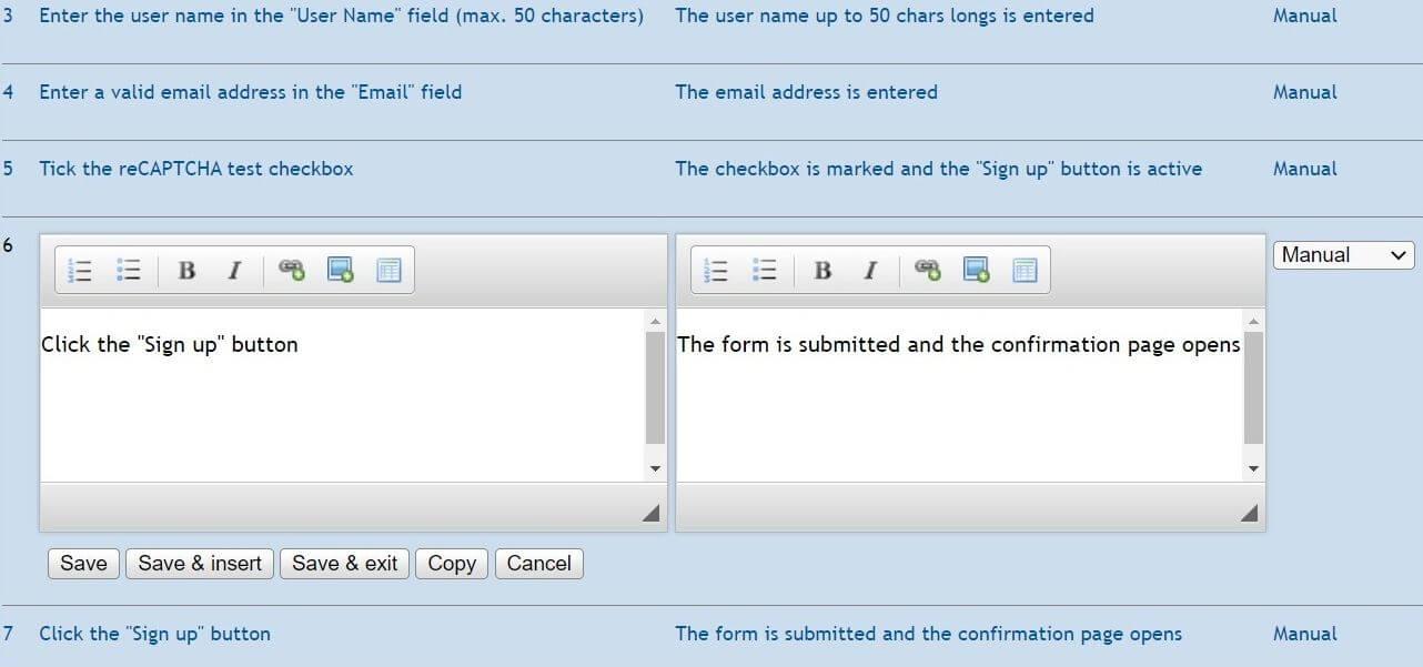 Testlink - przypadek testowy - kopiowanie kroku