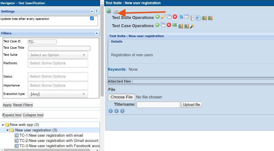 Testlink - specyfikacja testów - kolejne scenariusze i przypadki