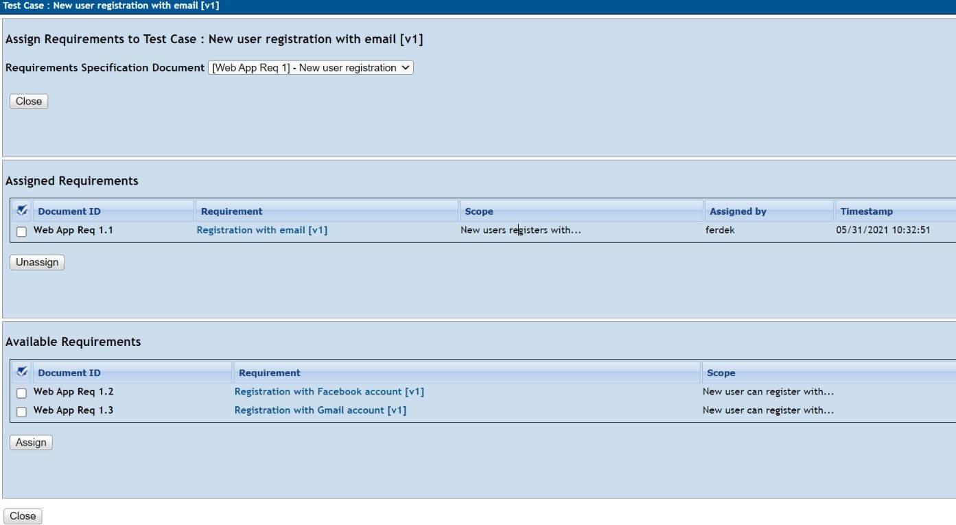 Testlink - wymaganie - przypisane do przypadku