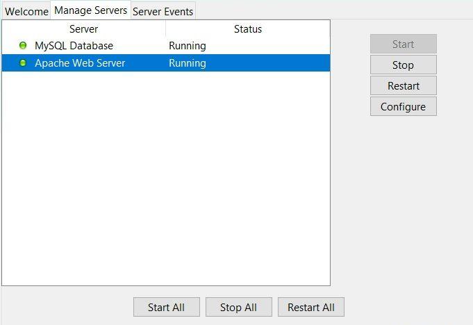 Testlink - sprawdzenie, czy mySQL i serwer Apache są uruchomione