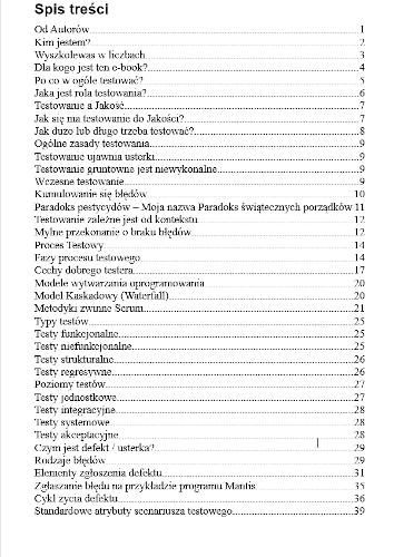 e-book ABC Testowania Oprogramowania spis treści strona 1