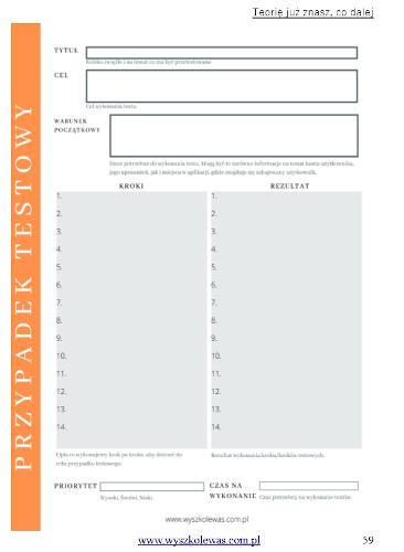 e-book ABC Testowania Oprogramowania formularz tworzenie przypadku do wydruku