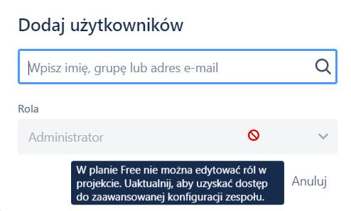 Jira w opcji Free nie można przypisywać ról w projekcie