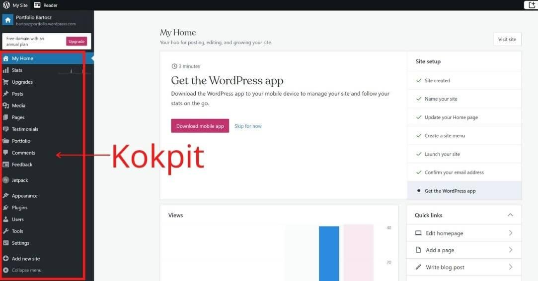 Kokpit WordPress zaraz po utworzeniu konta na stronie WordPress.com.