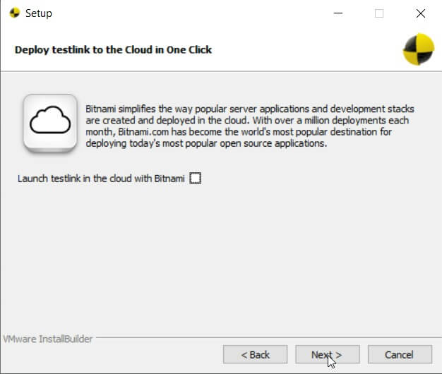 Kreator konfiguracji TestLink z bitnami pytanie o utworzenie kopii TestLink w chmurze