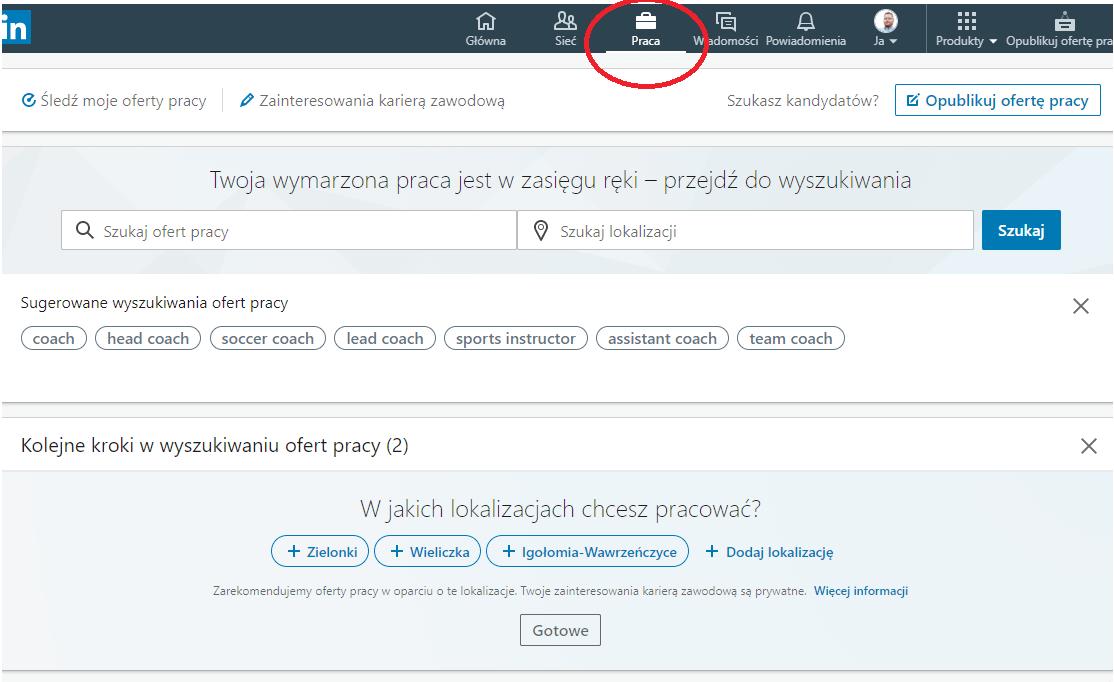 zrzut ekranu z polami szukania pracy aplikacji linkedin