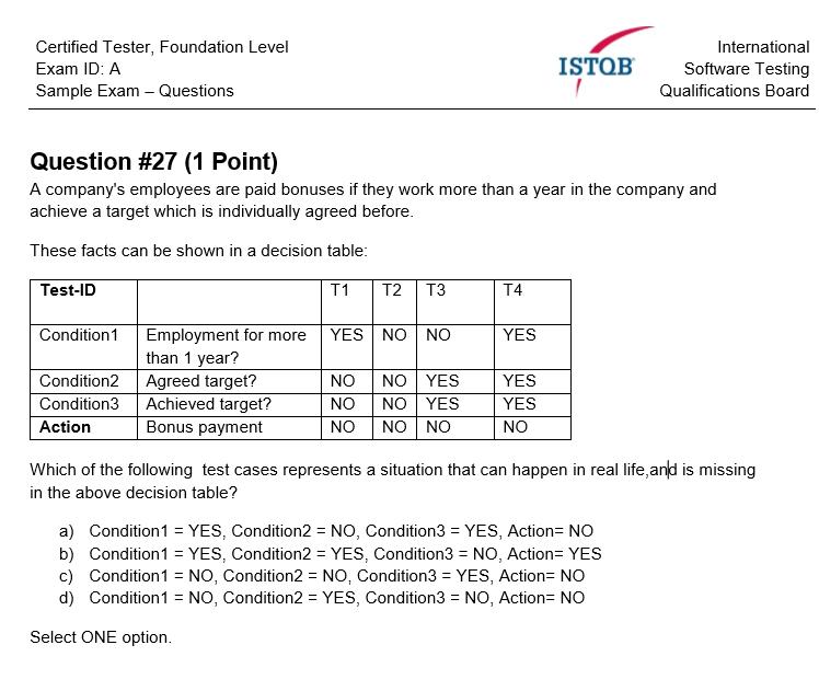 Przykładowe zadanie dotyczące tablic decyzyjnych na egzaminie ISTQB