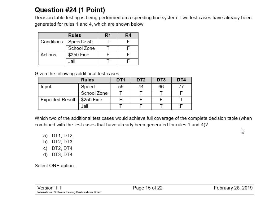Tablice decyzyjne zadanie z przykładowego egzaminu na ISTQB zestaw B